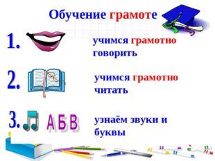 Обучение грамоте учимся грамотно говорить учимся грамотно читать узнаём звуки