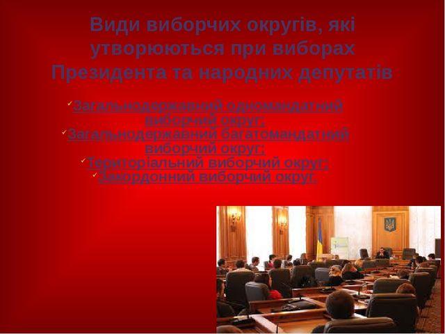 Види виборчих округів, які утворюються при виборах Президента та народних деп...