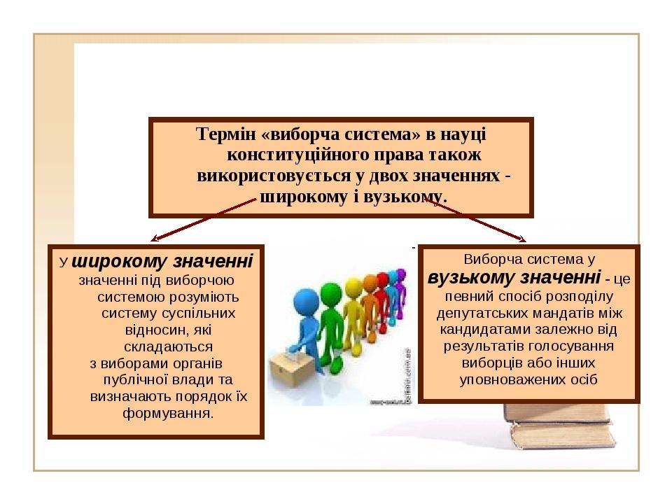Виборча система у вузькому значенні - це певний спосіб розподілу депутатс...