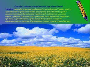 Комісія з питань громадянства при Президенті України: розглядає заяви про пр