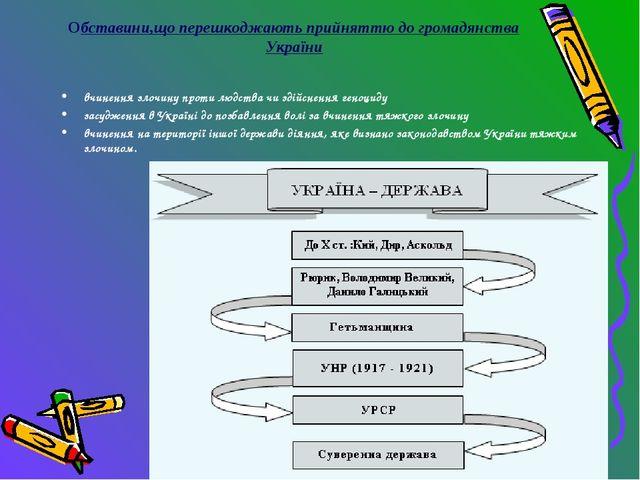 Обставини,що перешкоджають прийняттю до громадянства України вчинення злочину...