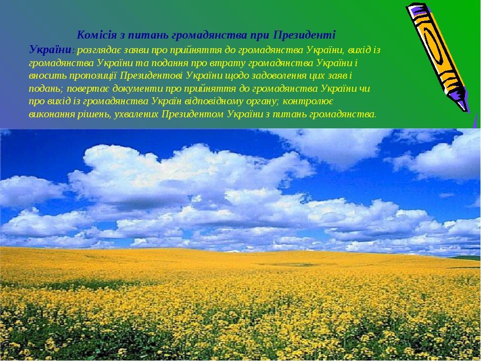 Комісія з питань громадянства при Президенті України: розглядає заяви про пр...