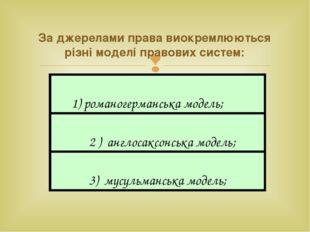 За джерелами права виокремлюються різні моделі правових систем: 1) романогерм
