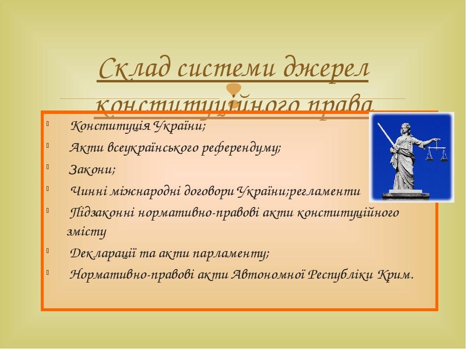 Склад системи джерел конституційного права Конституція України; Акти всеукраї...