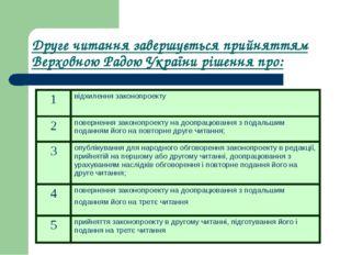 Друге читання завершується прийняттям Верховною Радою України рішення про: