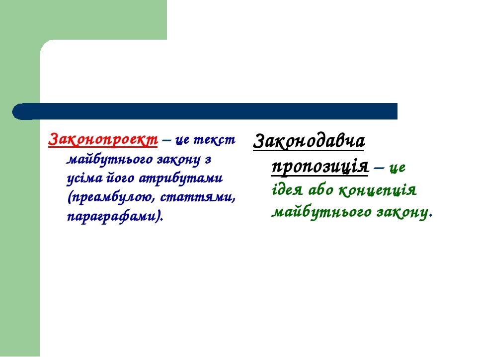 Законопроект – це текст майбутнього закону з усіма його атрибутами (преамбуло...