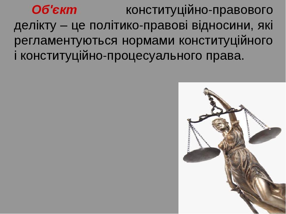 Об'єкт конституційно-правового делікту – це політико-правові відносини, які...