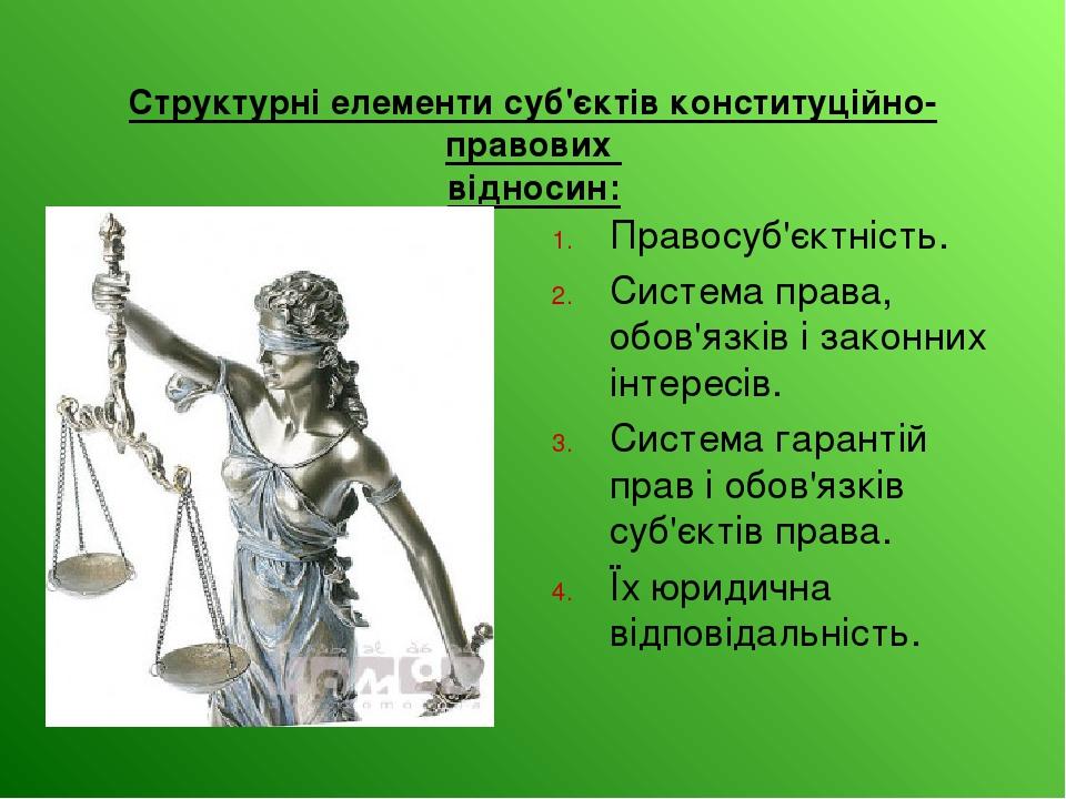 Структурні елементи суб'єктів конституційно-правових відносин: Правосуб'єктн...