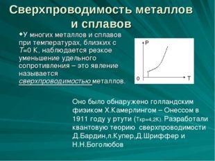 Сверхпроводимость металлов и сплавов У многих металлов и сплавов при температ