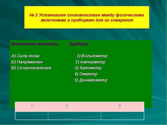 № 2 Установите соответствие между физическими величинами и приборами для их и...