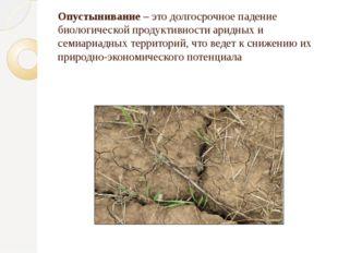 Опустынивание – это долгосрочное падение биологической продуктивности аридных