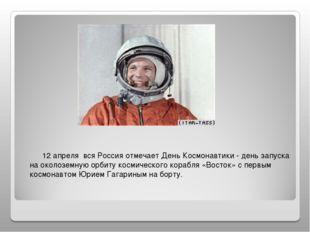12 апреля вся Россия отмечает День Космонавтики - день запуска на околоземну