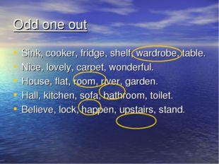 Odd one out Sink, cooker, fridge, shelf, wardrobe, table. Nice, lovely, carpe
