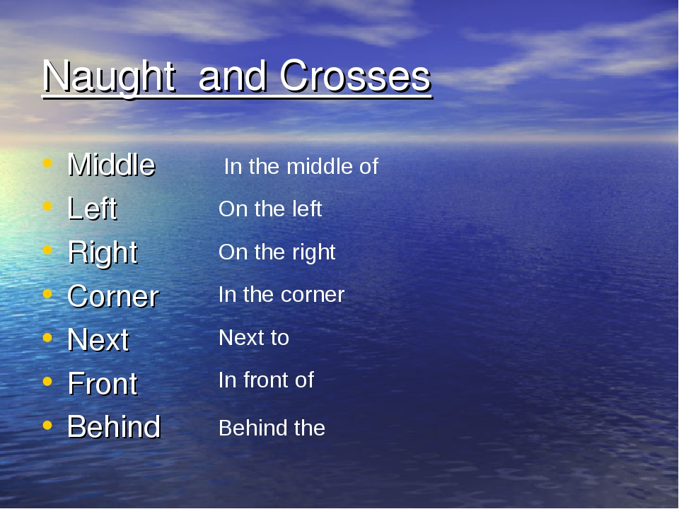 Naught and Crosses Middle Left Right Corner Next Front Behind In the middle o...
