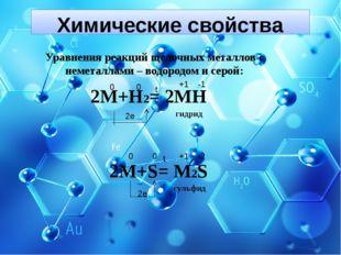 Химические свойства Уравнения реакций щелочных металлов с неметаллами – водор