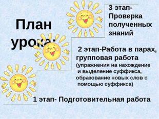 План урока: 1 этап- Подготовительная работа 2 этап-Работа в парах, групповая