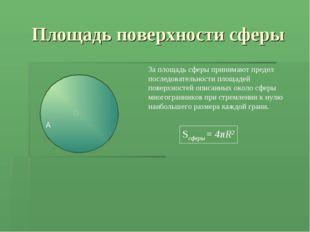 Площадь поверхности сферы За площадь сферы принимают предел последовательност