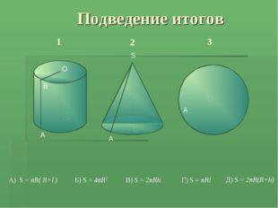 Подведение итогов В) S = 2πRh Д) S = 2πR(R+h) Г) S = πRl А) S = πR( R+l ) Б)