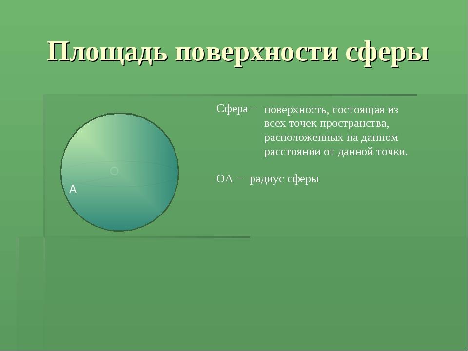 Площадь поверхности сферы Сфера – поверхность, состоящая из всех точек простр...