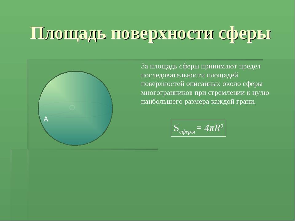 Площадь поверхности сферы За площадь сферы принимают предел последовательност...