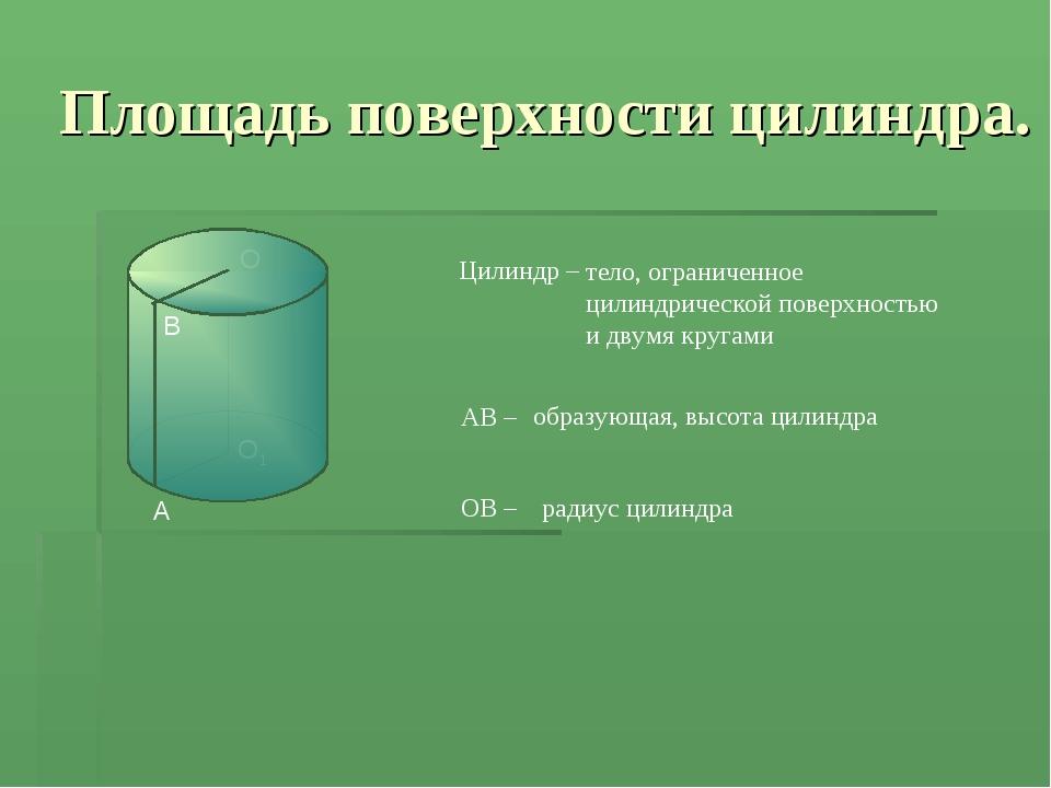 Площадь поверхности цилиндра. O Цилиндр – тело, ограниченное цилиндрической п...