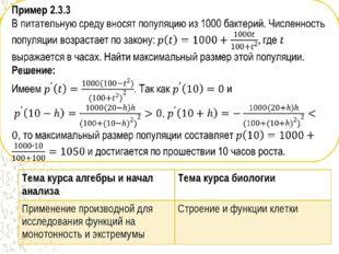 Тема курса алгебры и начал анализаТема курса биологии Применение производной