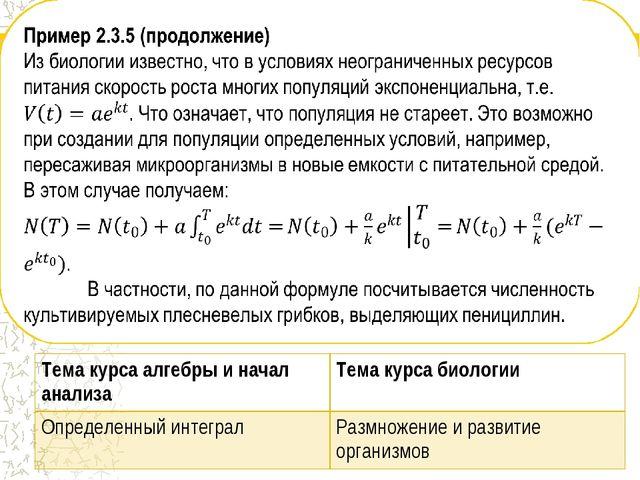 Тема курса алгебры и начал анализаТема курса биологии Определенный интеграл...
