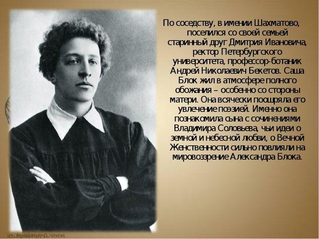 По соседству, в имении Шахматово, поселился со своей семьей старинный друг Дм...