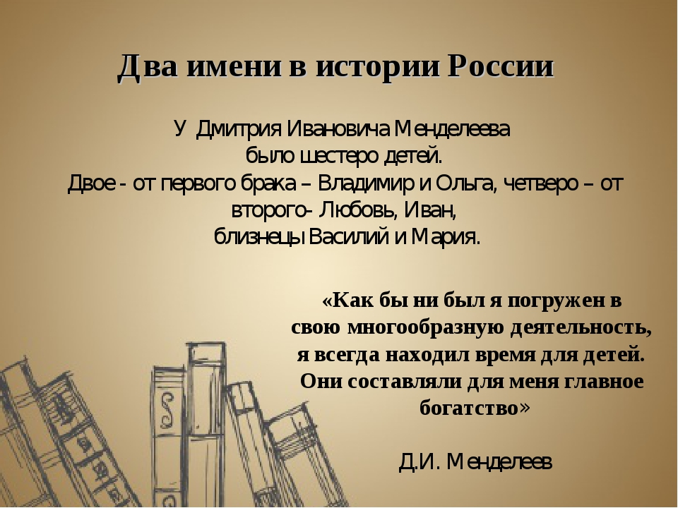 Два имени в истории России У Дмитрия Ивановича Менделеева было шестеро детей....