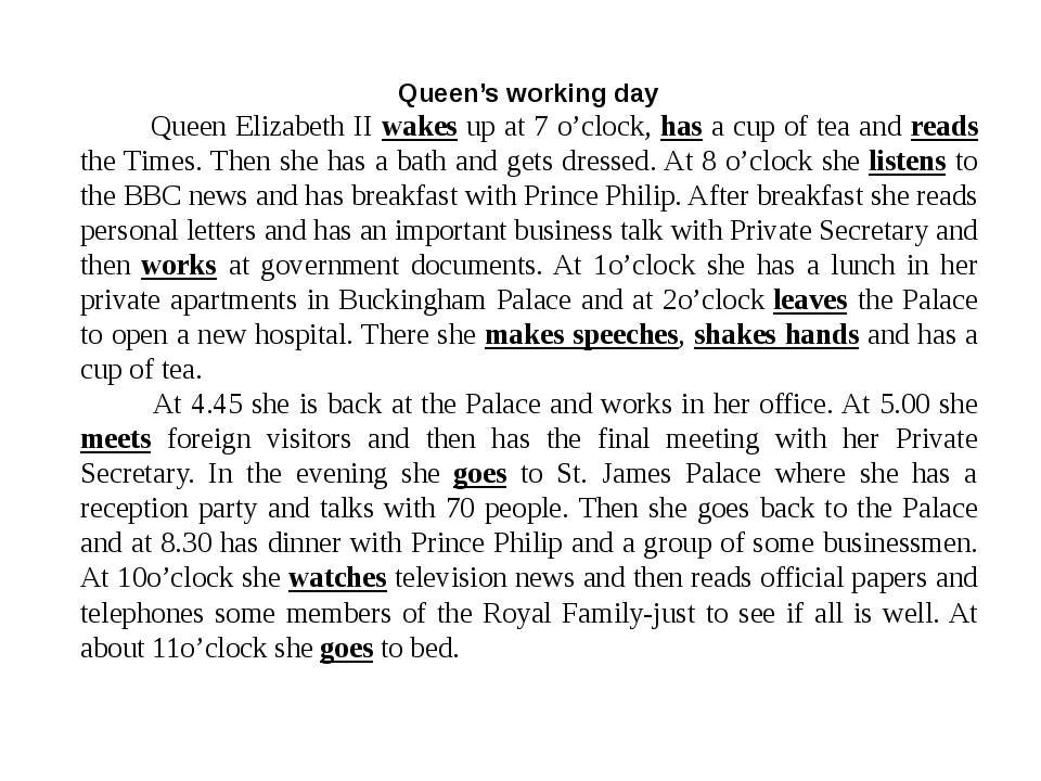 Queen's working day Queen Elizabeth II wakes up at 7 o'clock, has a cup of te...