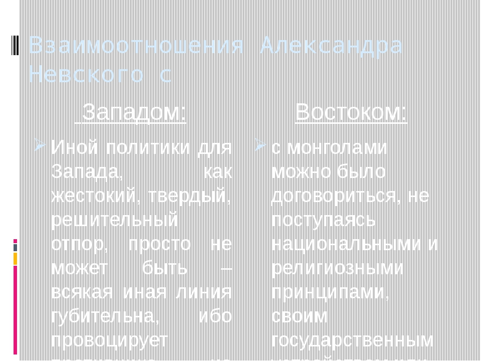 Взаимоотношения Александра Невского с Западом: Иной политики для Запада, как...