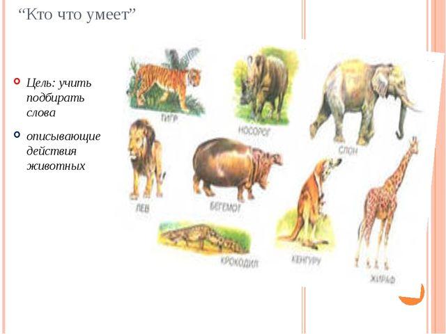 """""""Кто что умеет"""" Цель: учить подбирать слова описывающие действия животных"""
