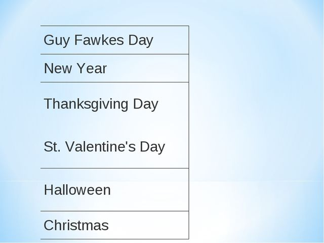 Guy Fawkes Day New Year Thanksgiving Day St. Valentine's Day Halloween Chris...