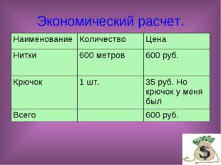 Экономический расчет. НаименованиеКоличествоЦена Нитки600 метров600 руб.