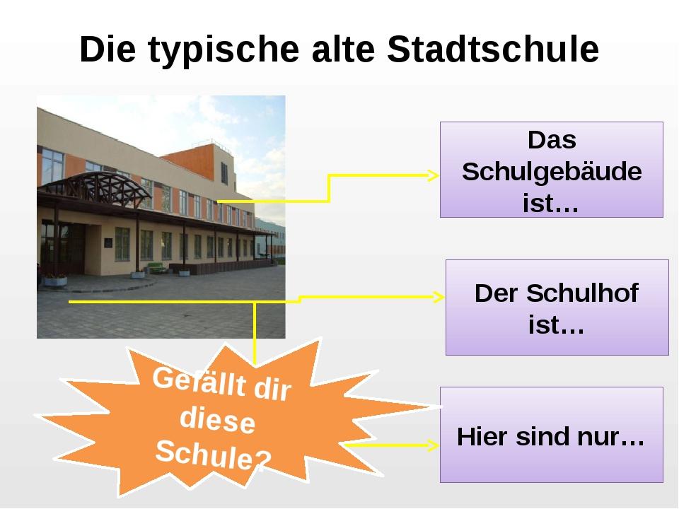 Die typische alte Stadtschule Das Schulgebäude ist… Der Schulhof ist… Hier si...