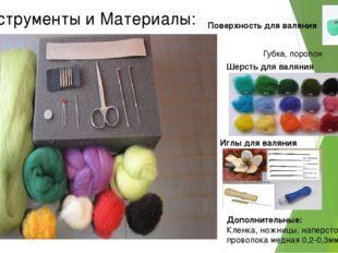 Инструменты и Материалы: Поверхность для валяния Губка, поролон Шерсть для ва