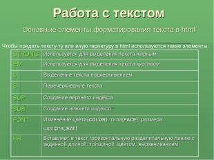 Работа с текстом Основные элементы форматирования текста в html Чтобы придать