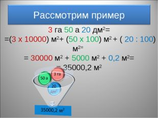 3 га 50 а 20 дм2= =(3 x 10000) м2+ (50 х 100) м2 + ( 20 : 100) м2= = 30000 м2