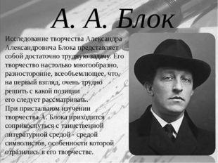 Исследование творчества Александра Александровича Блока представляет собой до