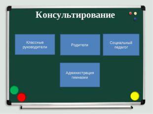 Консультирование Классные руководители Родители Социальный педагог Администра