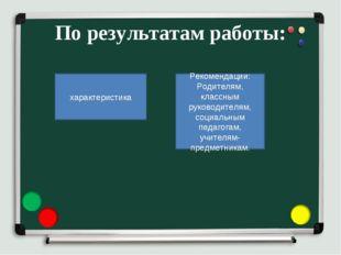 По результатам работы: характеристика Рекомендации: Родителям, классным руков