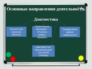 Основные направления деятельности. Диагностика Личностный опросник Кетелла Пр