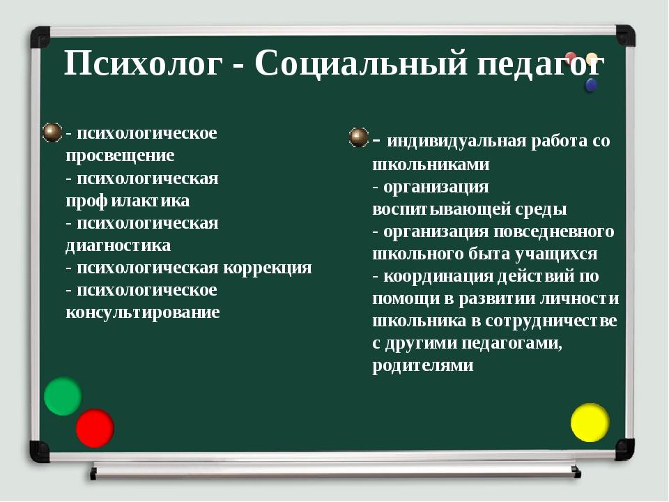 Психолог - Социальный педагог - психологическое просвещение - психологическая...