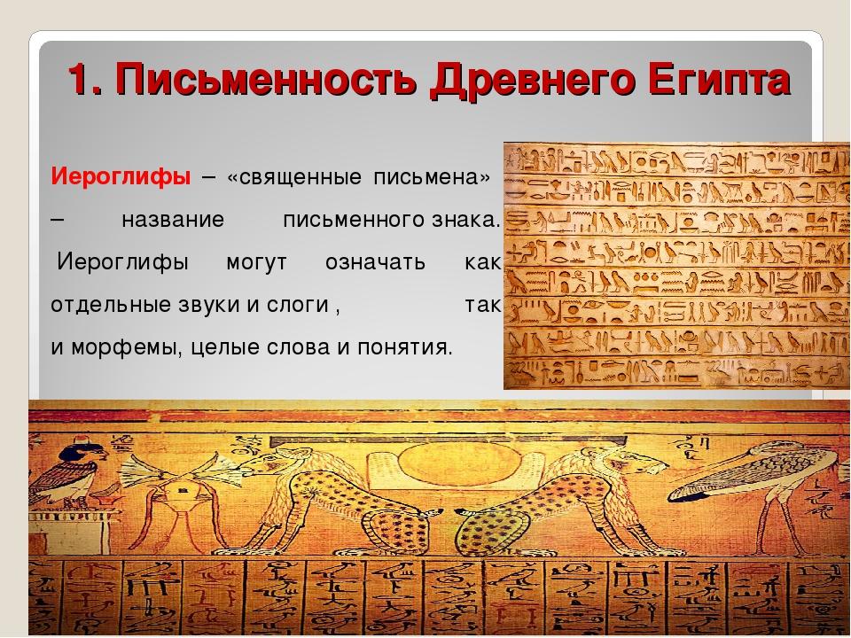 1. Письменность Древнего Египта Иероглифы – «священные письмена» – название п...