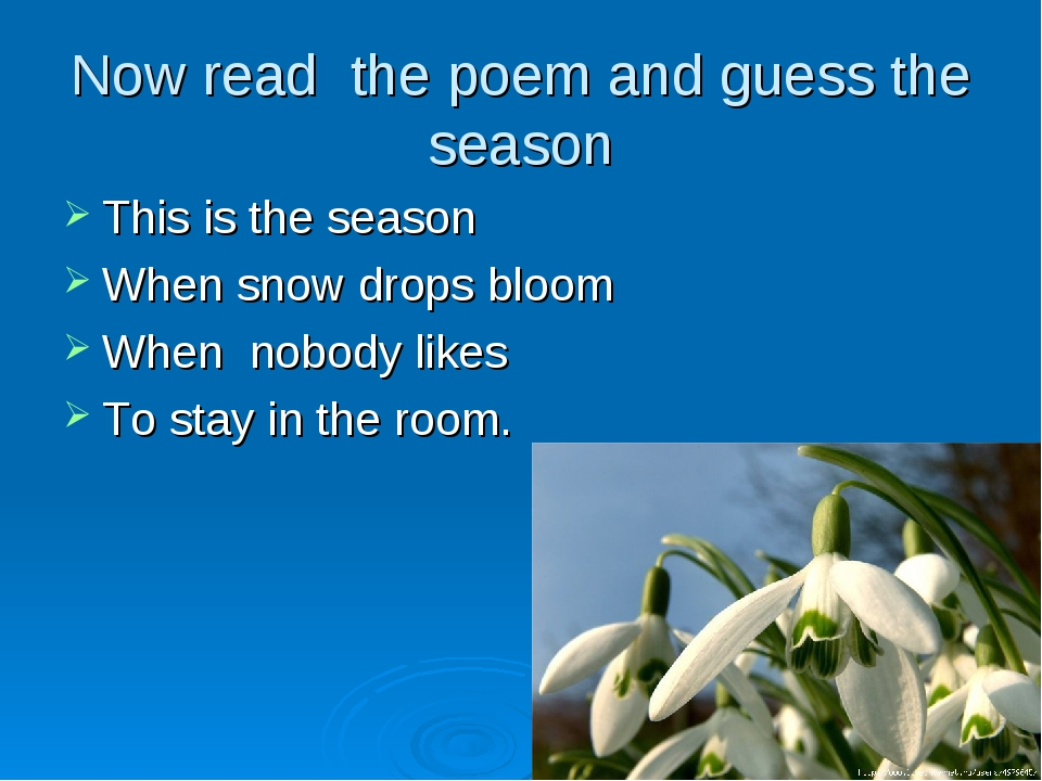 Now read the poem and guess the season This is the season When snow drops blo...