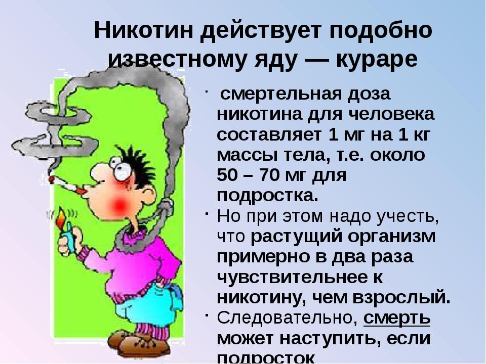 Никотин действует подобно известному яду — кураре смертельная доза никотина...