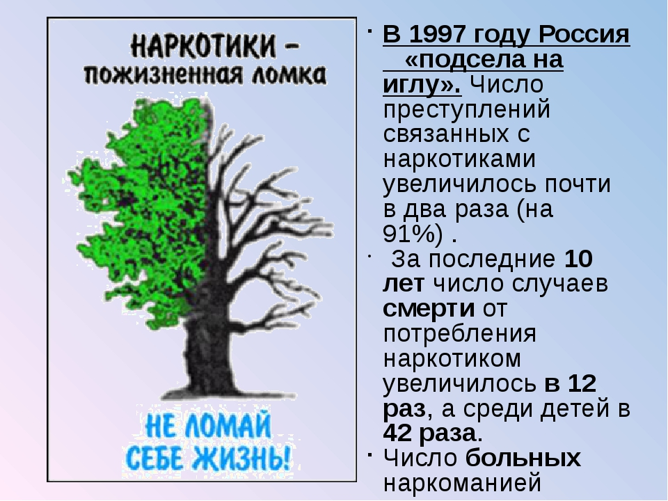 В 1997 году Россия «подсела на иглу». Число преступлений связанных с наркотик...