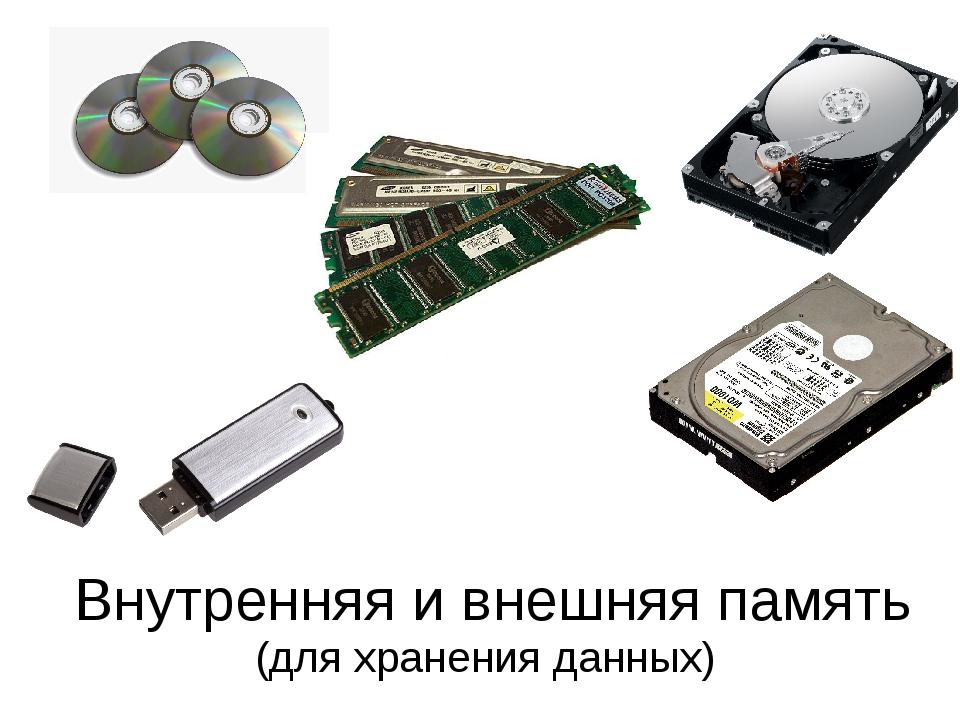 Внутренняя и внешняя память (для хранения данных)