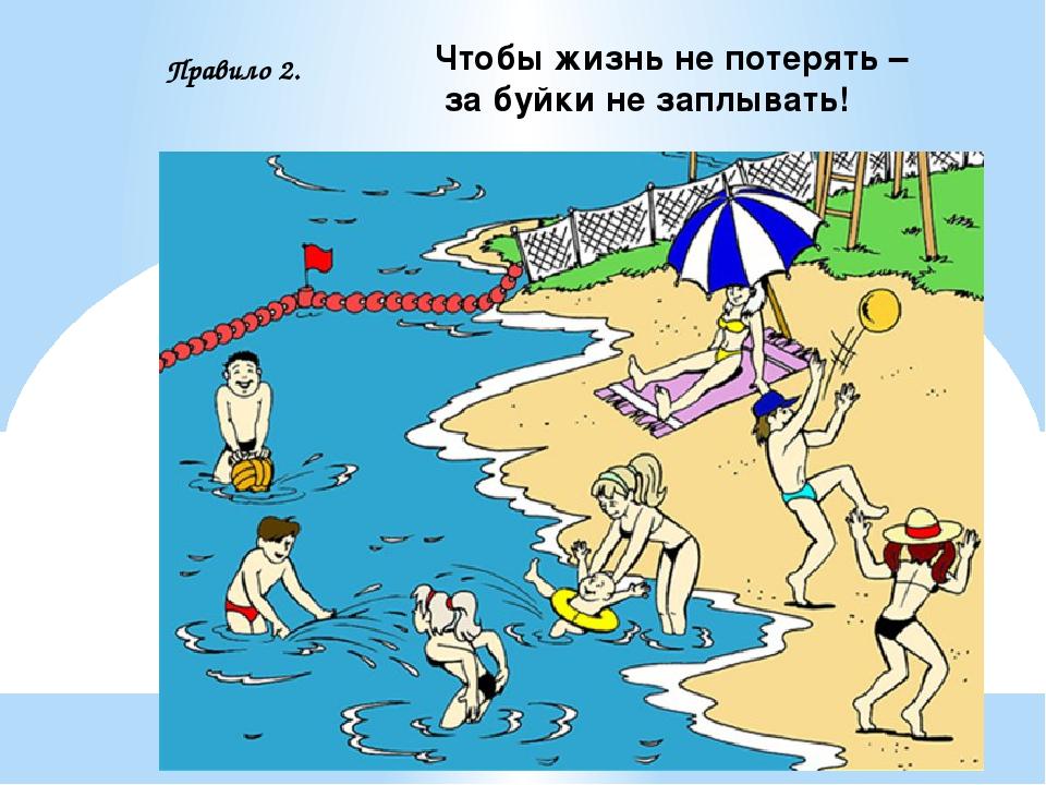 Чтобы жизнь не потерять – за буйки не заплывать! Правило 2.