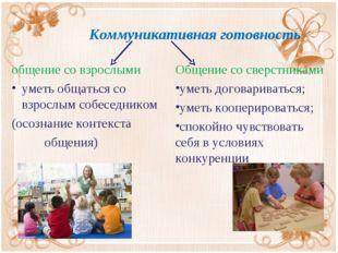 Коммуникативная готовность общение со взрослыми уметь общаться со взрослым с